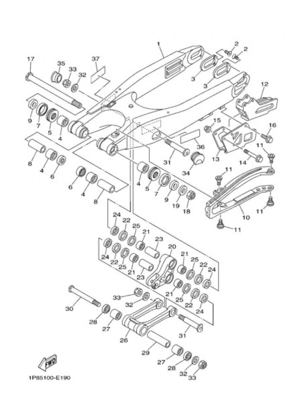 REAR ARM Yamaha YZ250 2007