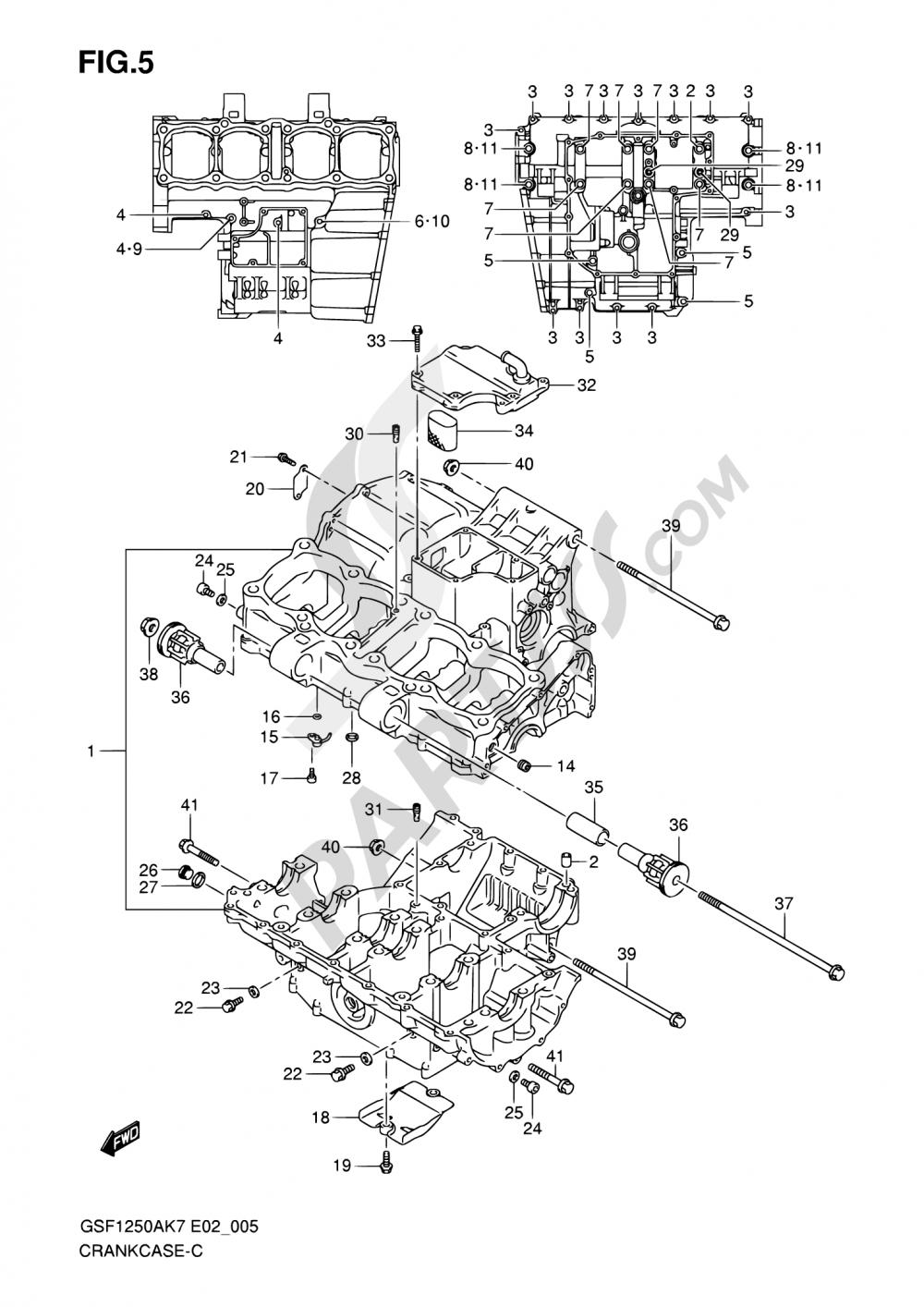 5 - CRANKCASE Suzuki BANDIT GSF1250S 2010