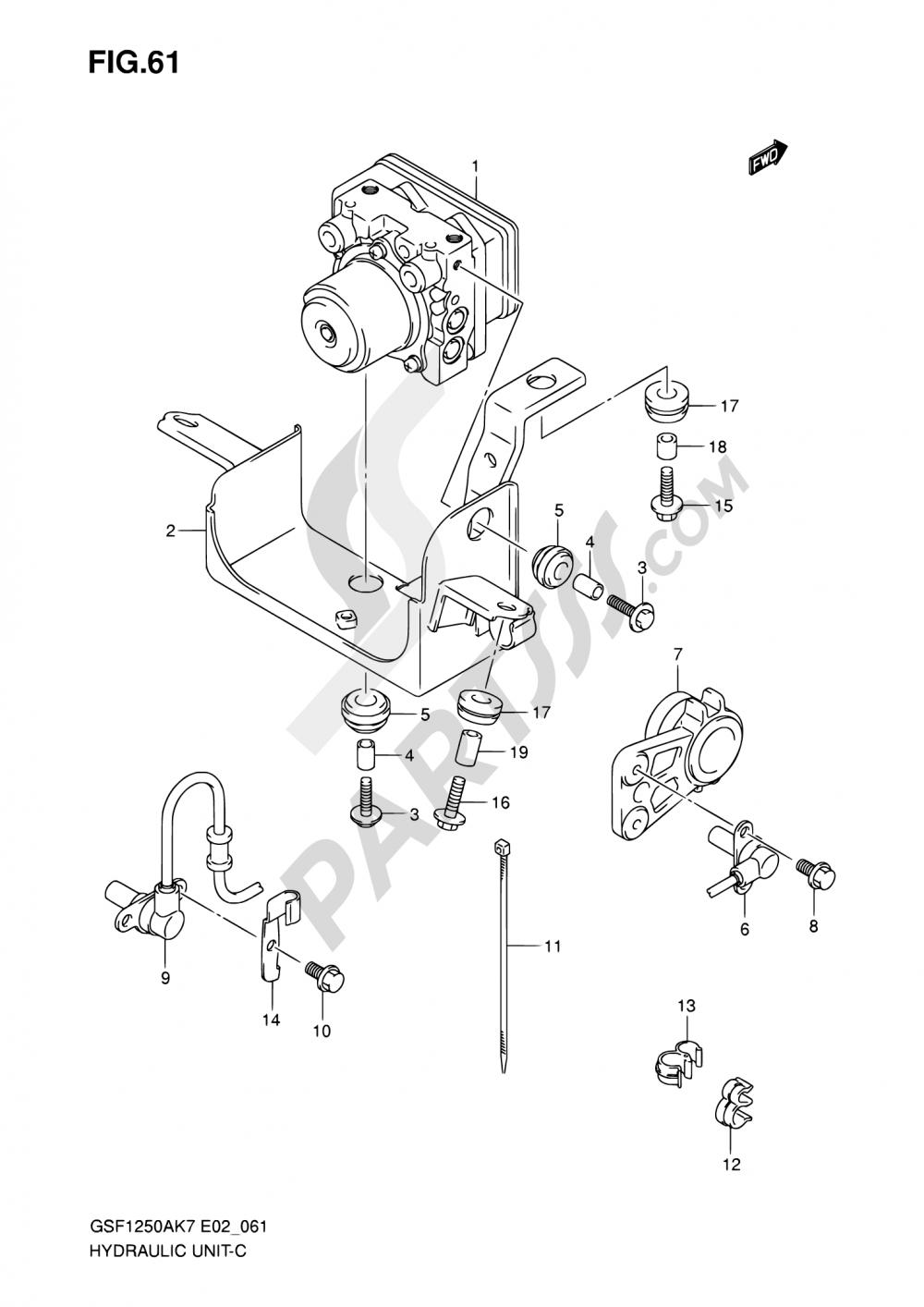 61 - HYDRAULIC UNIT (GSF1250AK7/SAK7/AK8/SAK8/AK9/SAK9/SAZK9/SL0/SAL0) Suzuki BANDIT GSF1250S 2010