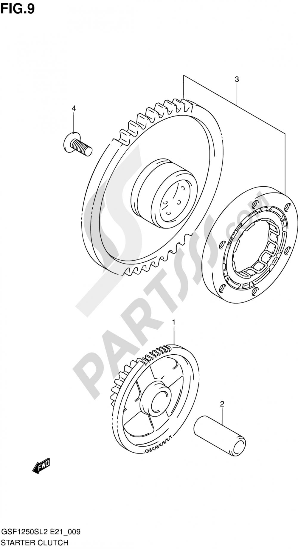 9 - STARTER CLUTCH Suzuki BANDIT GSF1250S 2012