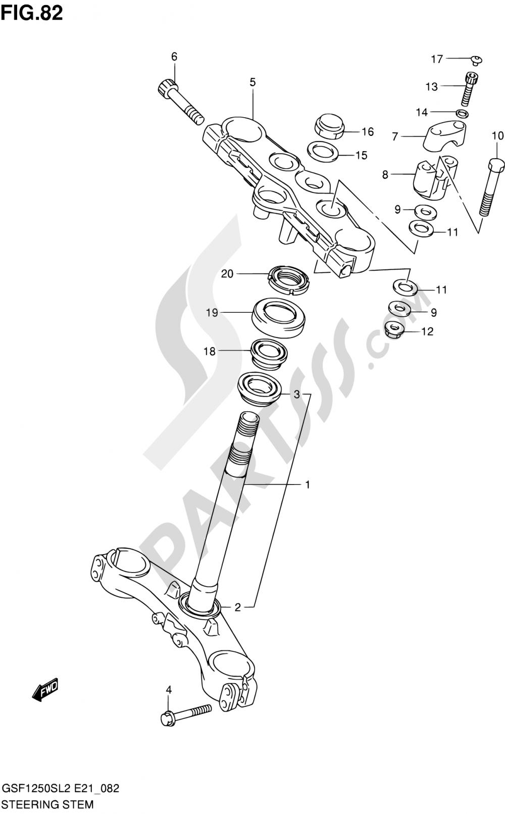 82 - STEERING STEM Suzuki BANDIT GSF1250SA 2012