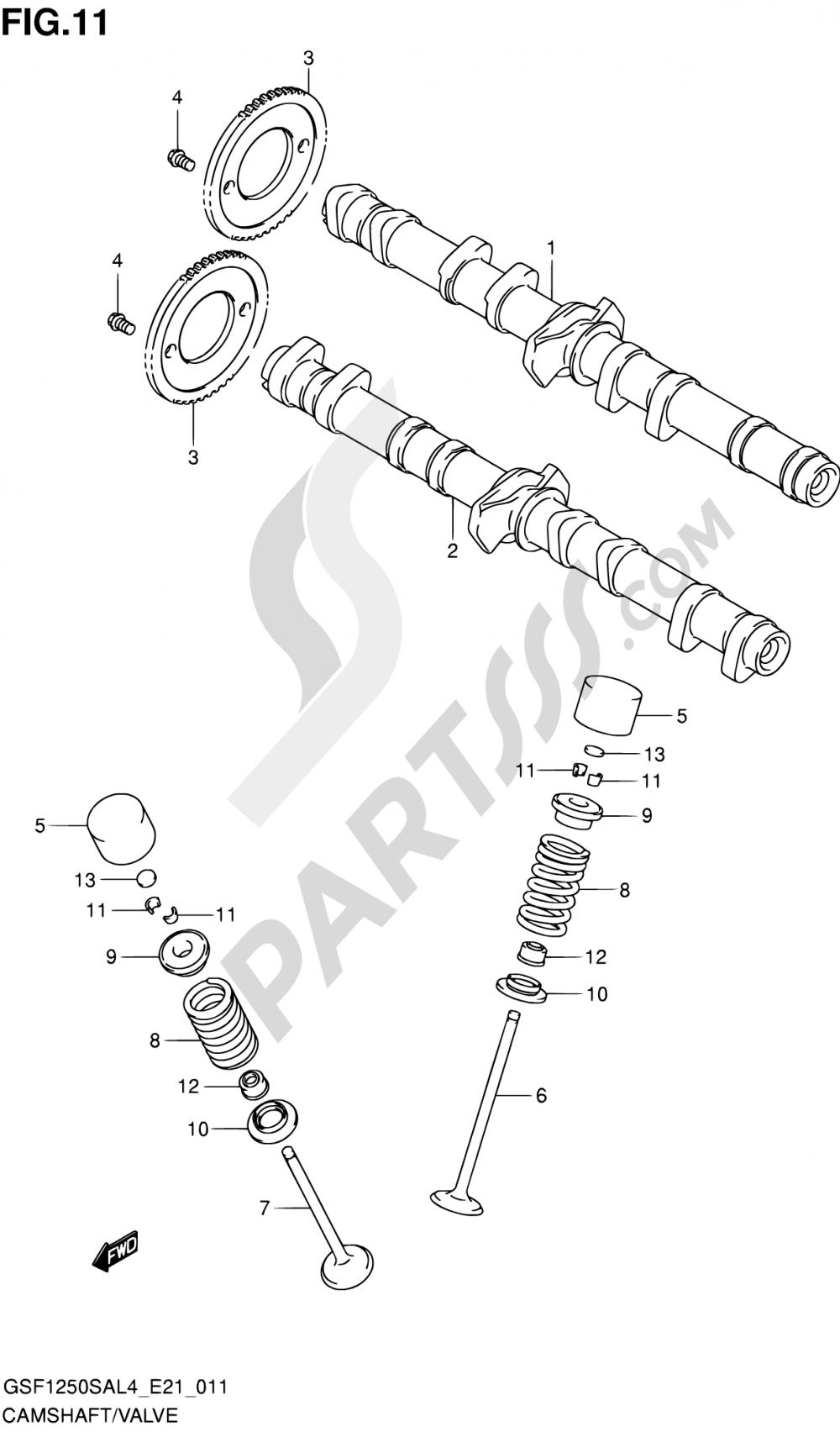 11 - CAMSHAFT/VALVE Suzuki BANDIT GSF1250SA 2014