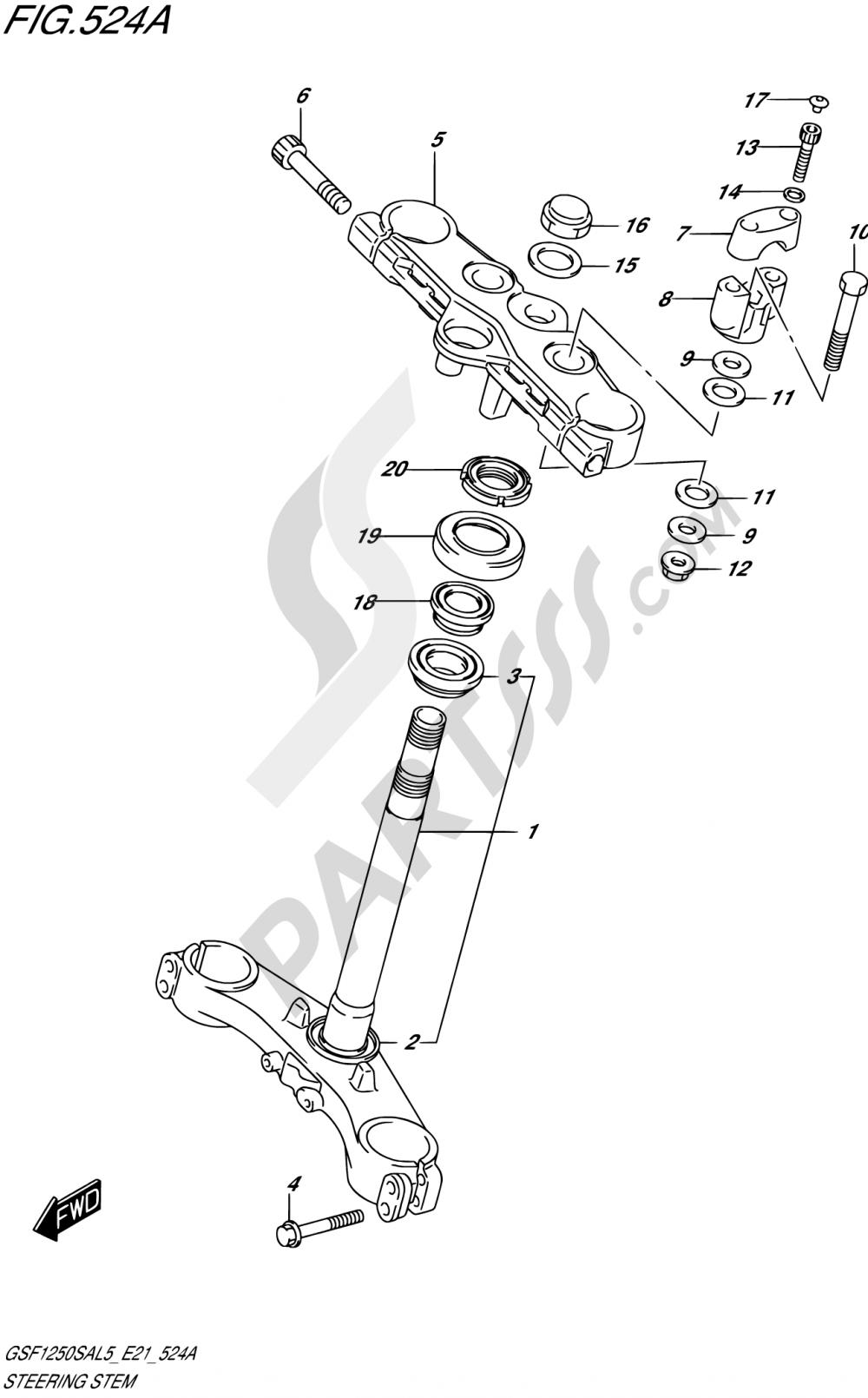 524A - STEERING STEM Suzuki BANDIT GSF1250SA 2015