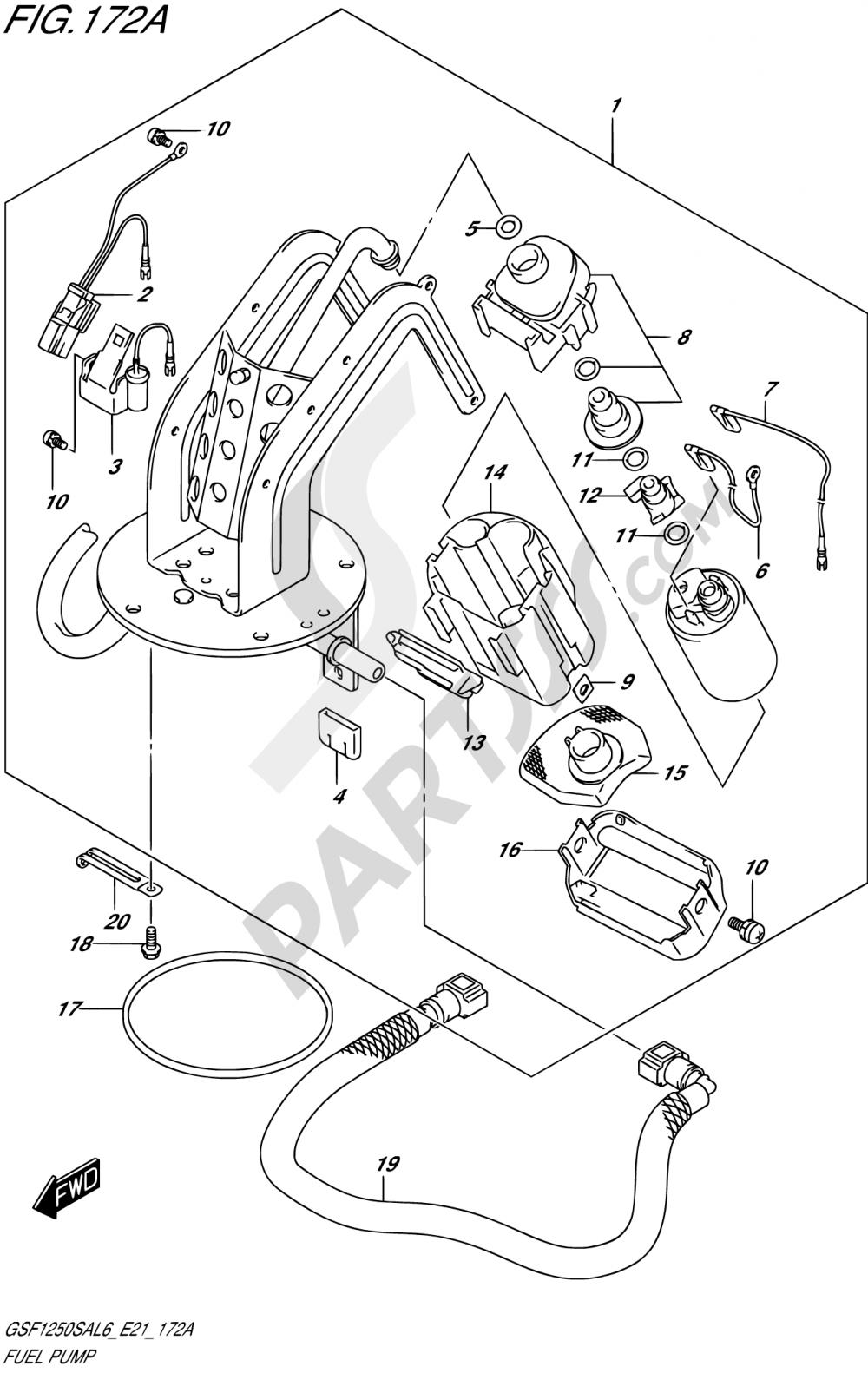 172A - FUEL PUMP Suzuki BANDIT GSF1250SA 2016