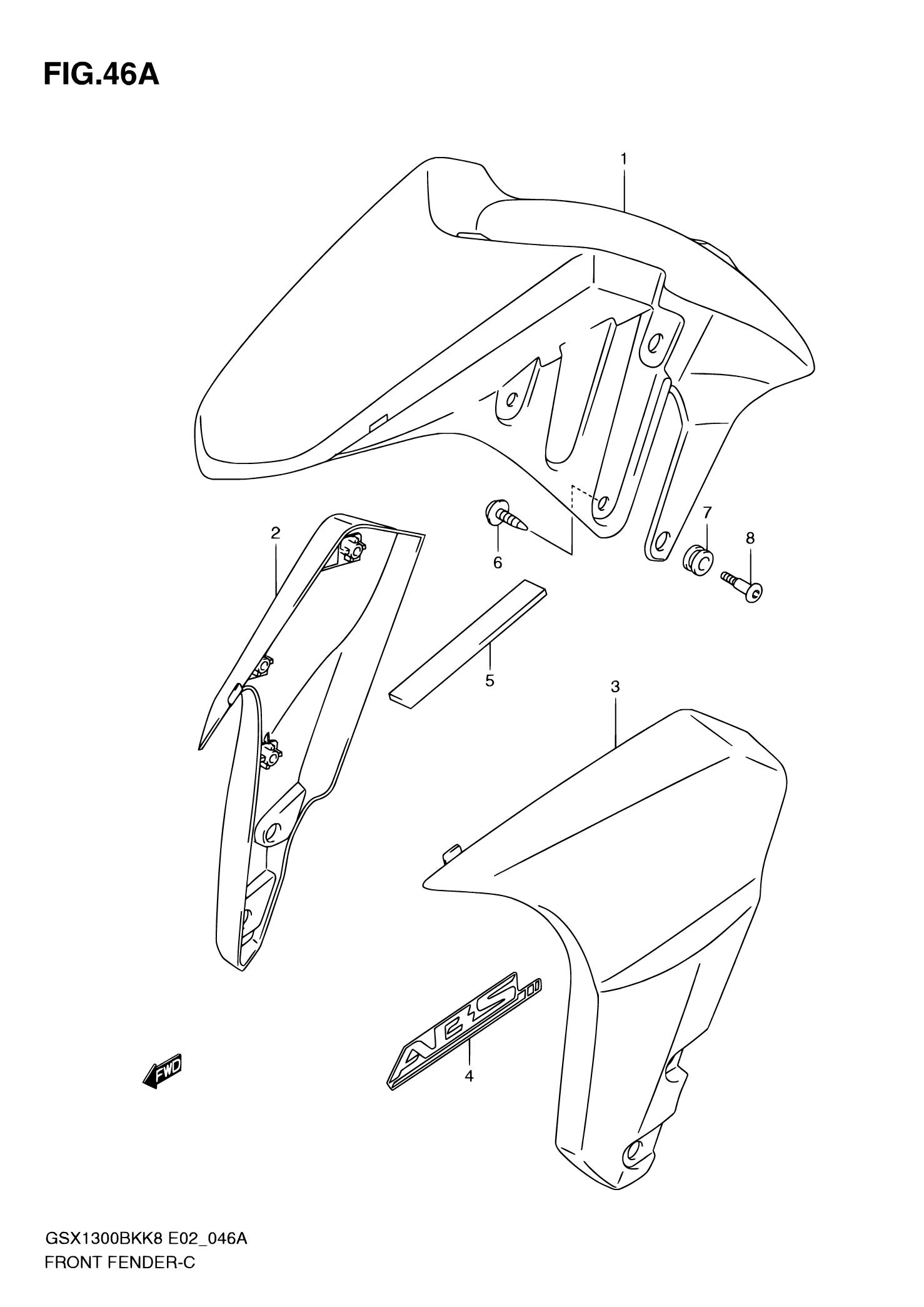 46A - FRONT FENDER (WITHOUT ABS,MODEL K8/K9) Suzuki BKING GSX1300BK 2009