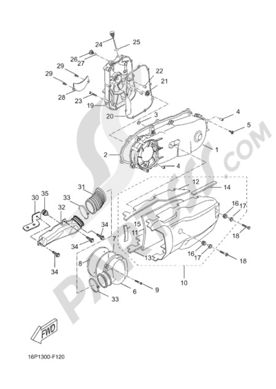 Yamaha X-City 250 2012 CRANKCASE COVER 1