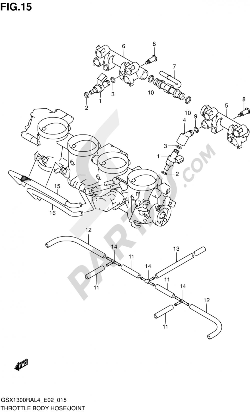 15 - THROTTLE BODY HOSE/JOINT (GSX1300RAL4 E19) Suzuki HAYABUSA GSX1300RA 2014