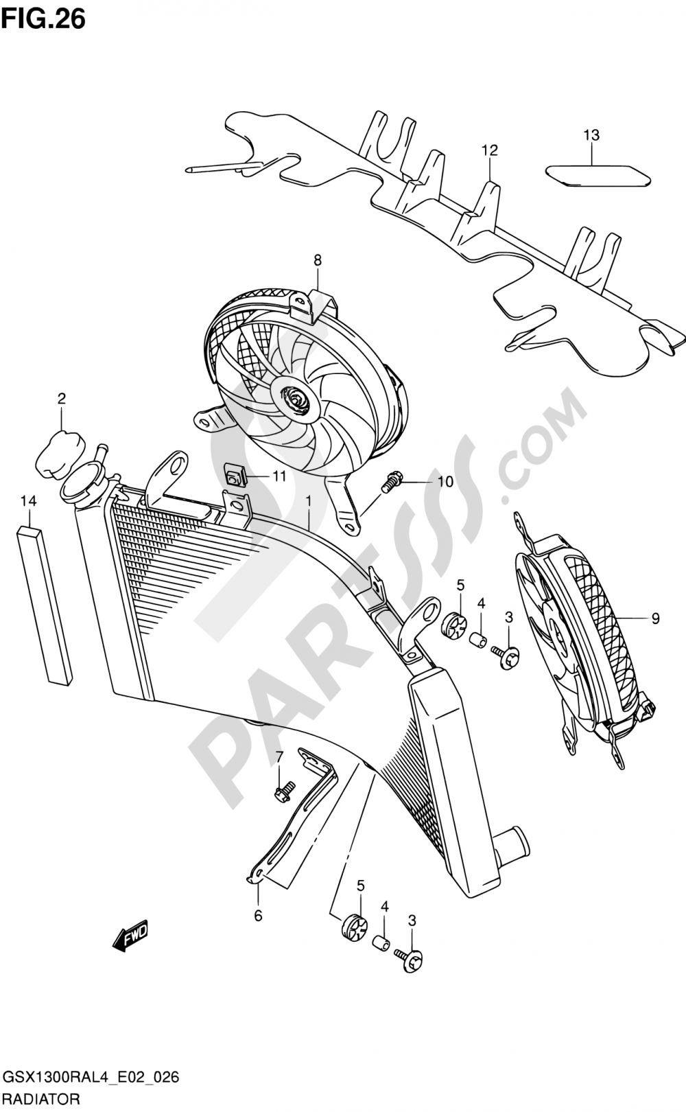 26 - RADIATOR (GSX1300RAUFL4 E19) Suzuki HAYABUSA GSX1300RA 2014