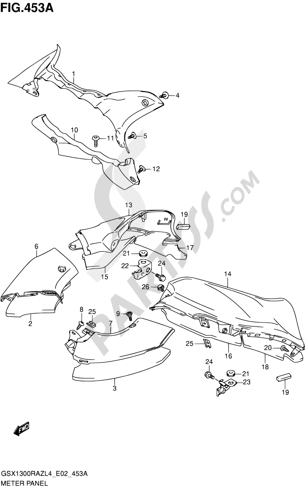 453A - METER PANEL Suzuki HAYABUSA GSX1300RAZ 2014