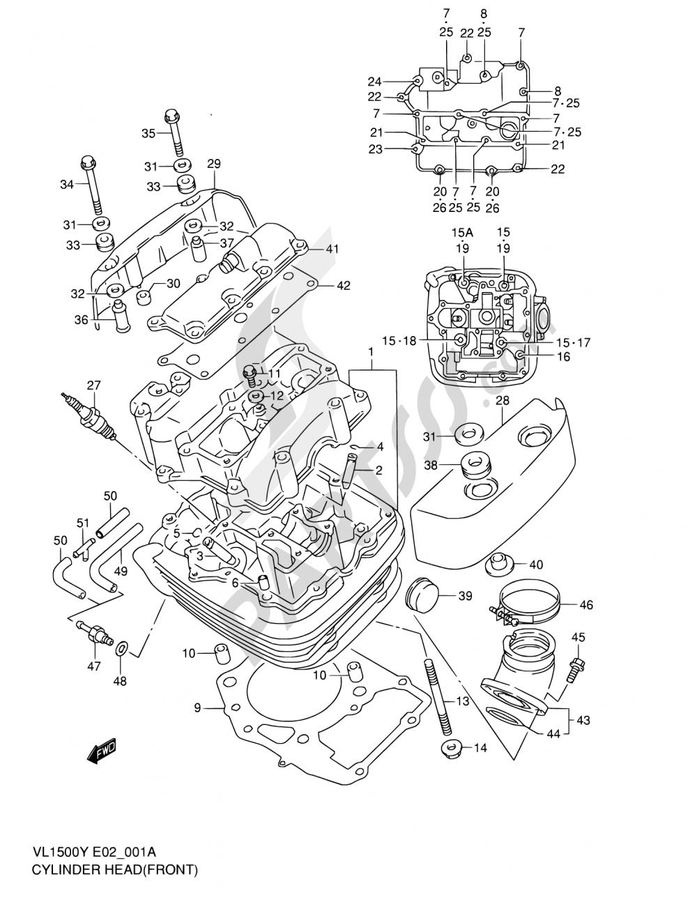 1A - CYLINDER HEAD (FRONT)(MODEL W/X/Y) Suzuki INTRUDER VL1500 1998