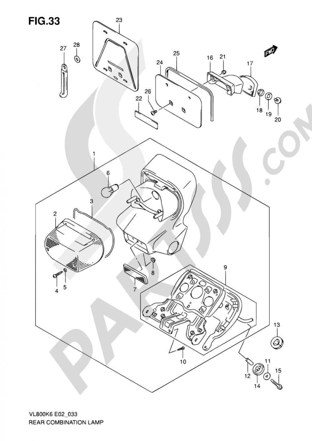 33 - REAR COMBINATION LAMP (MODEL K6/K7/K8) Suzuki INTRUDER VL800C 2007