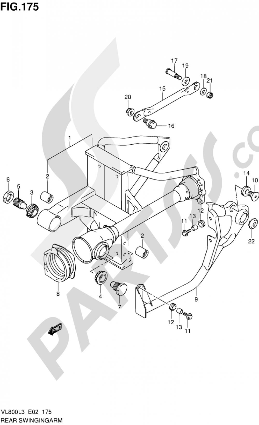 175 - REAR SWINGINGARM Suzuki INTRUDER VL800C 2013
