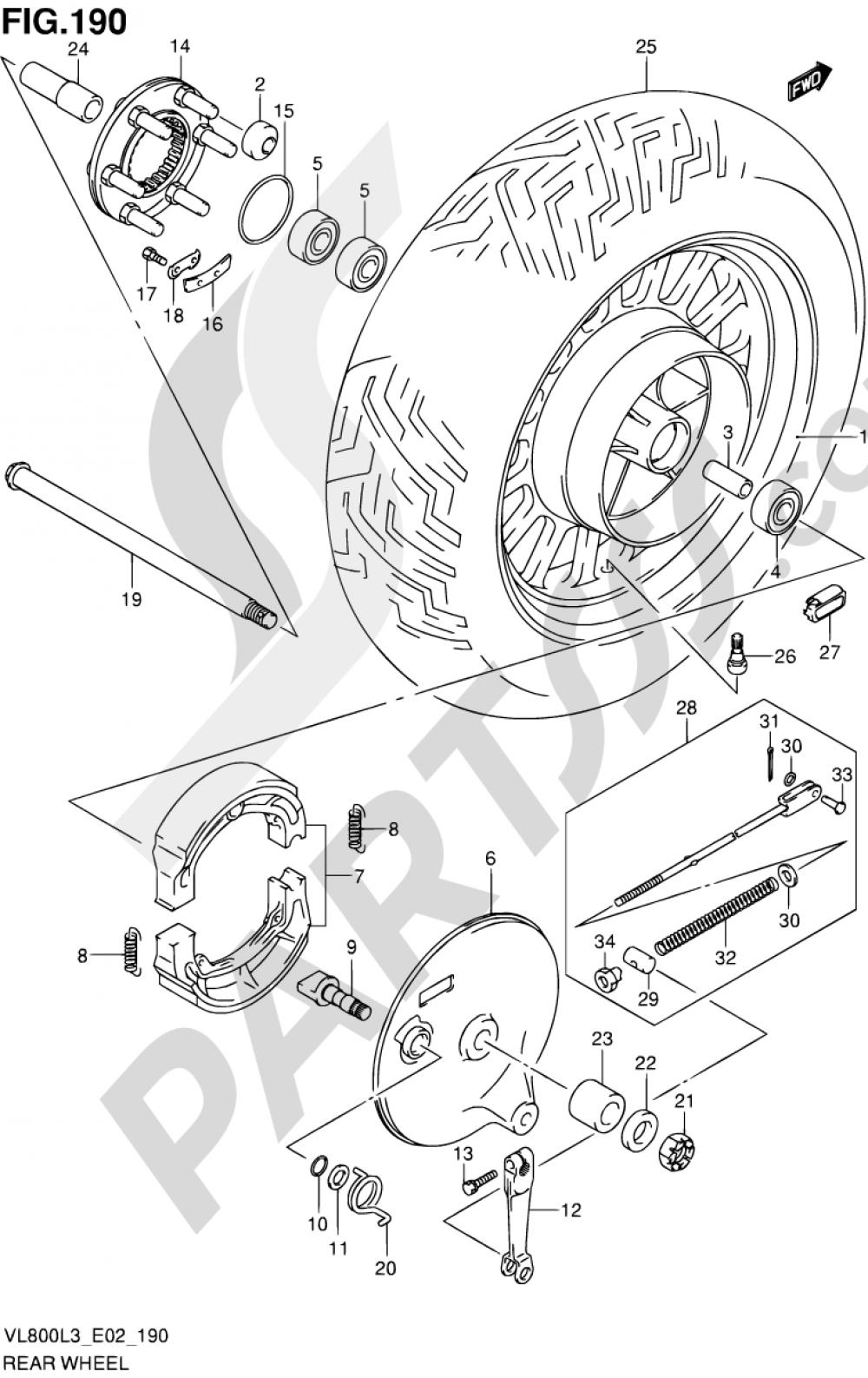 190 - REAR WHEEL (VL800CL3 E19) Suzuki INTRUDER VL800C 2013