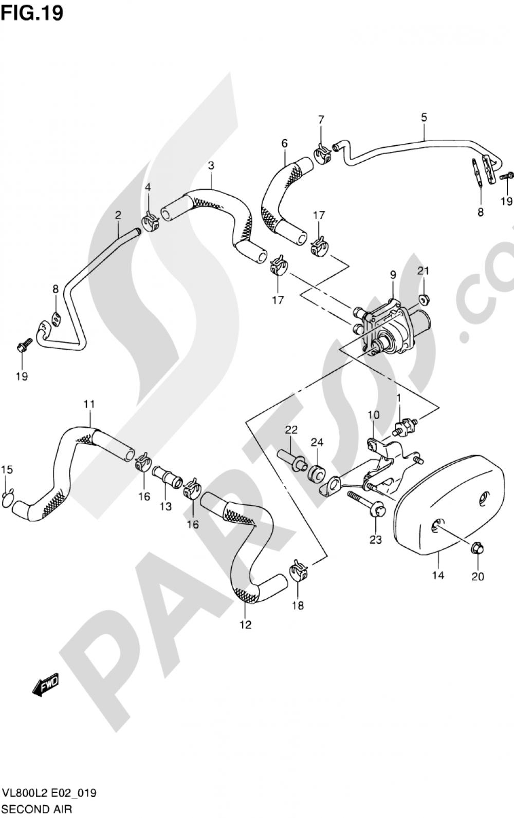 19 - SECOND AIR Suzuki INTRUDER VL800T 2012