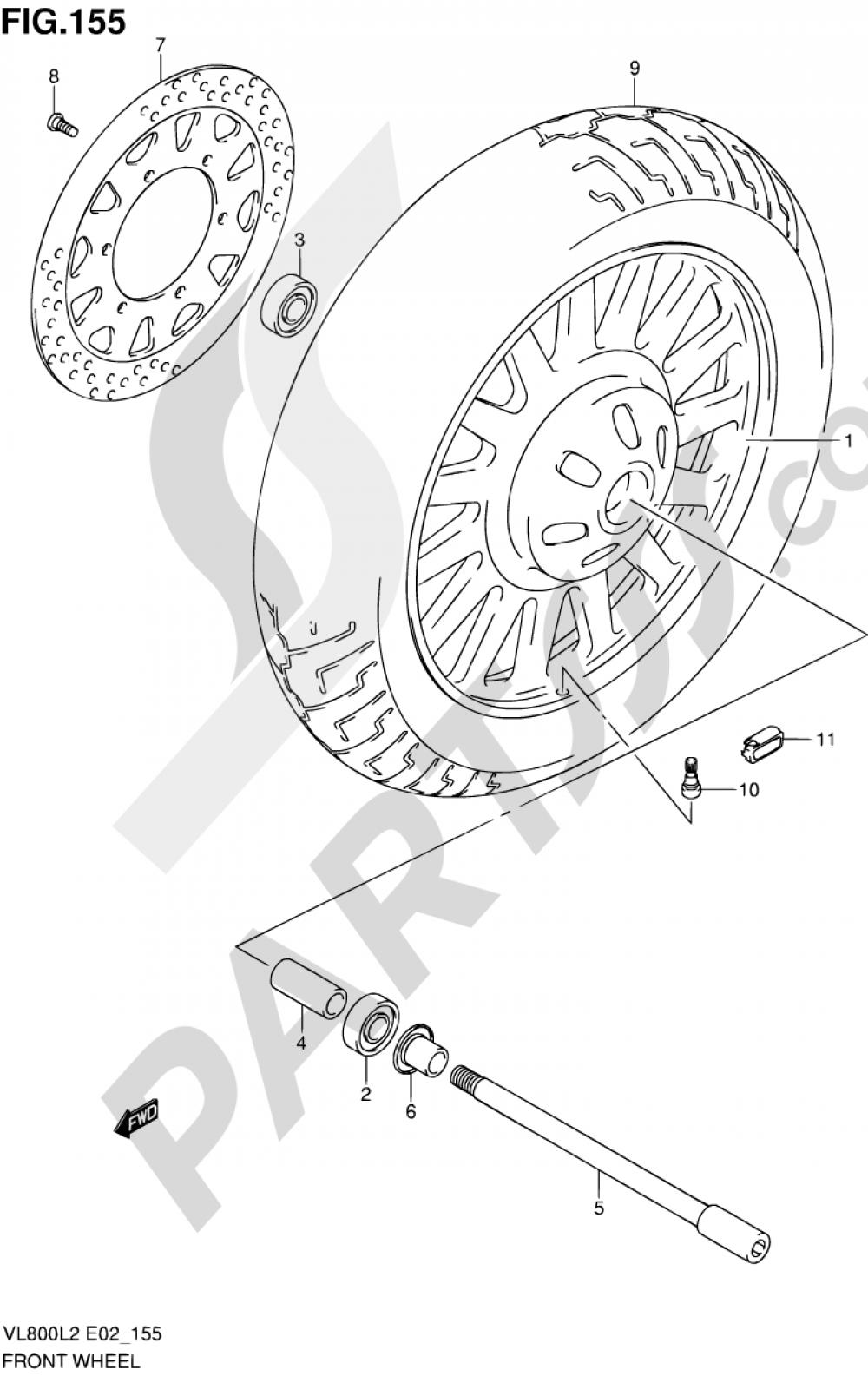 155 - FRONT WHEEL (VL800CUEL2 E19) Suzuki INTRUDER VL800T 2012
