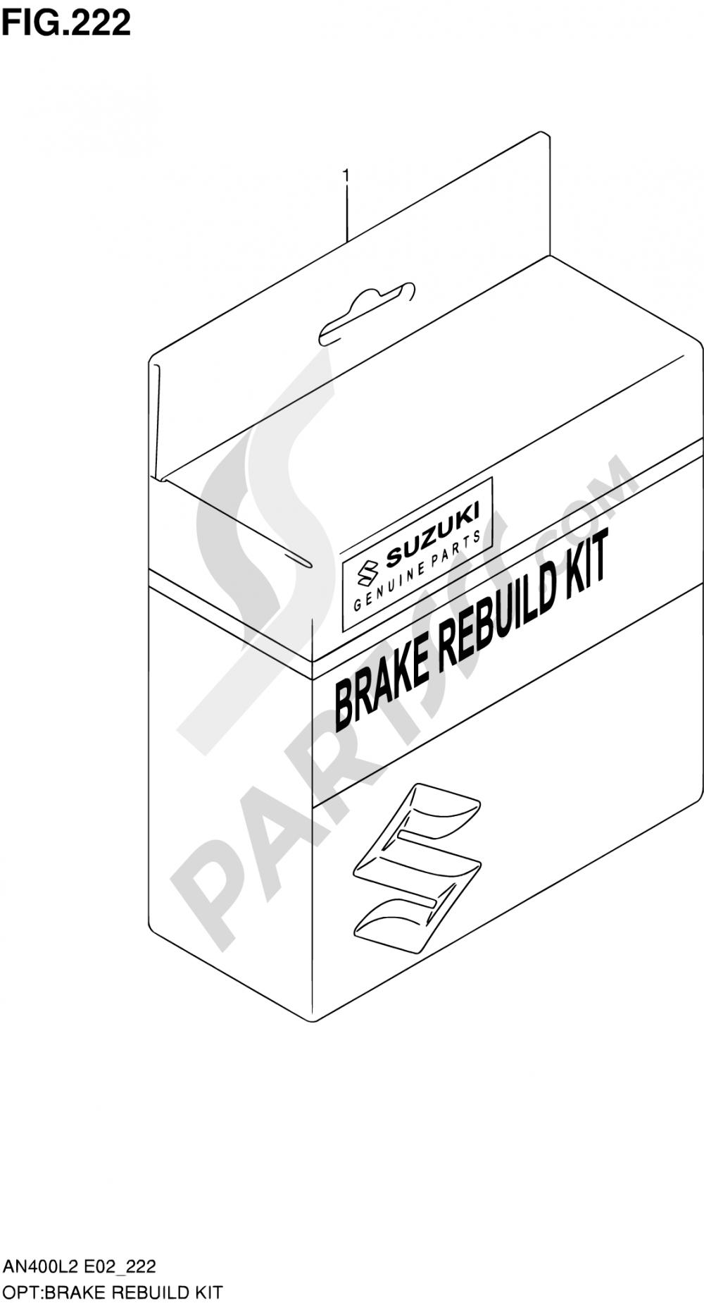 222 - BRAKE REBUILD KIT (AN400ZAL2 E51) Suzuki BURGMAN AN400ZA 2012