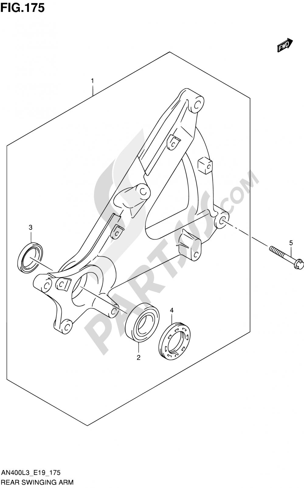 175 - REAR SWINGING ARM Suzuki BURGMAN AN400ZA 2013