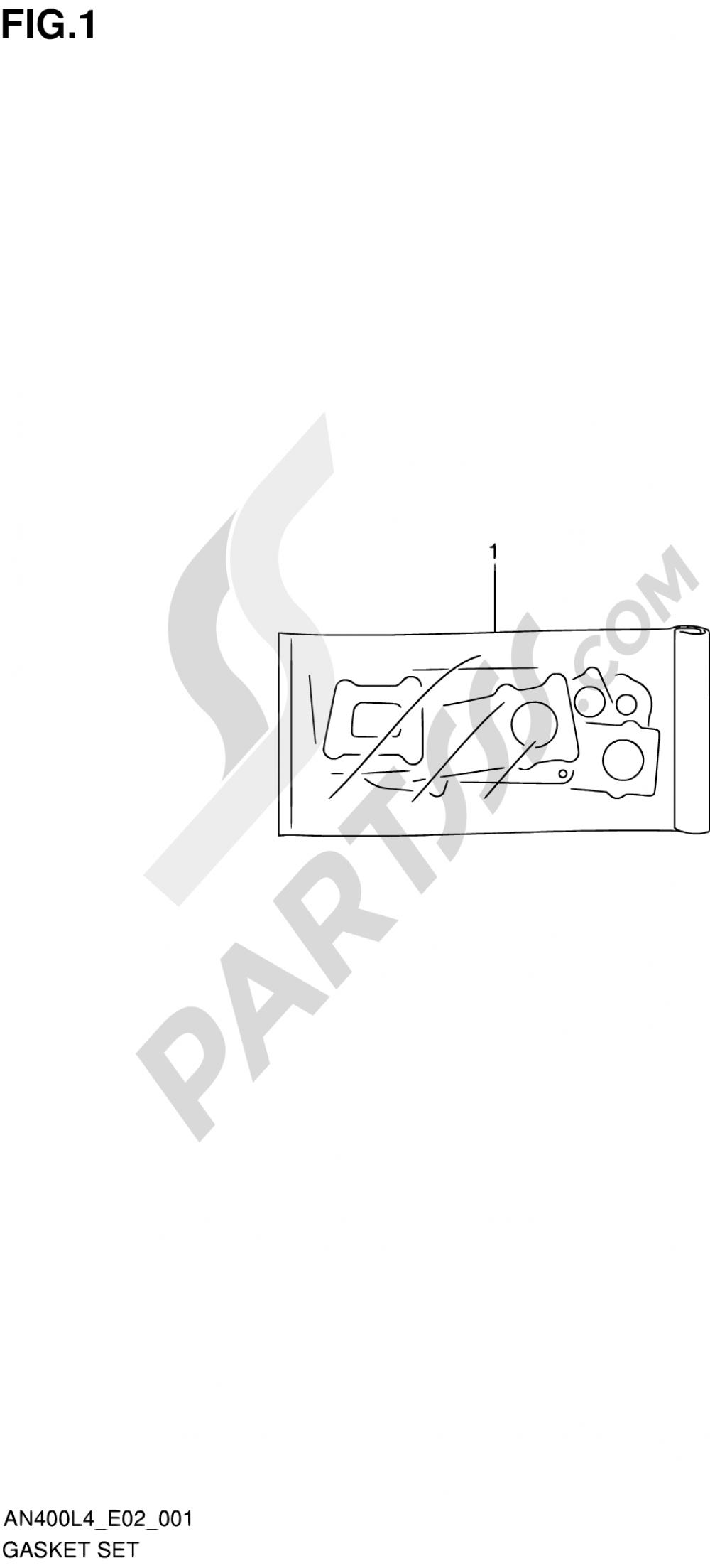 1 - GASKET SET Suzuki BURGMAN AN400ZA 2014