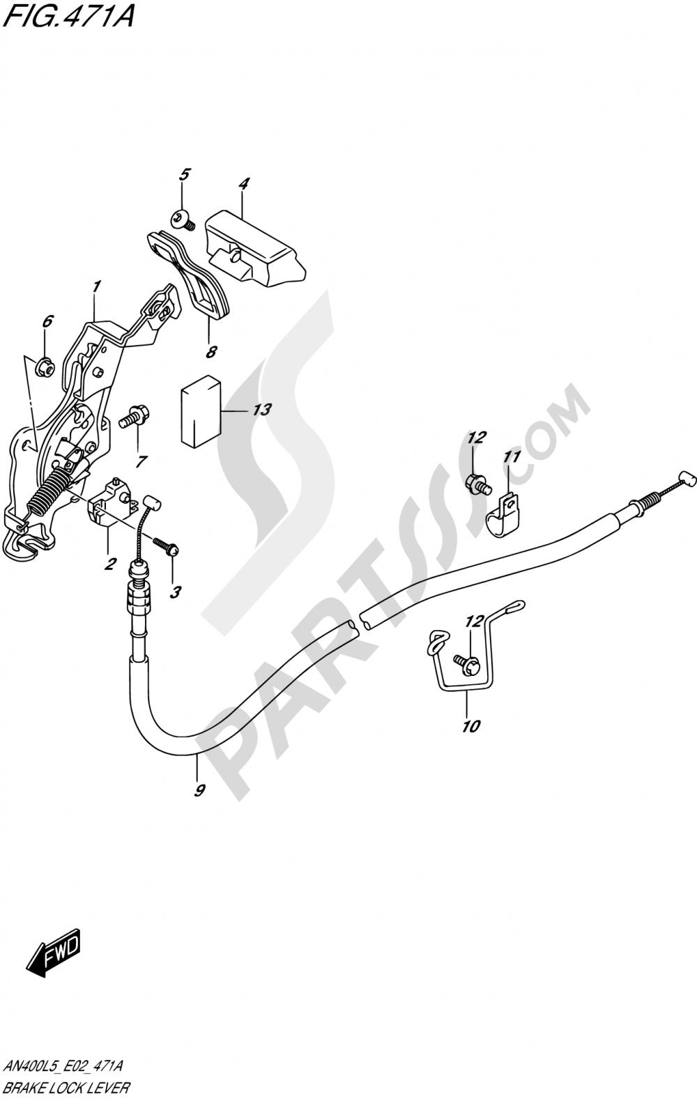 471A - BRAKE LOCK LEVER Suzuki BURGMAN AN400ZA 2015