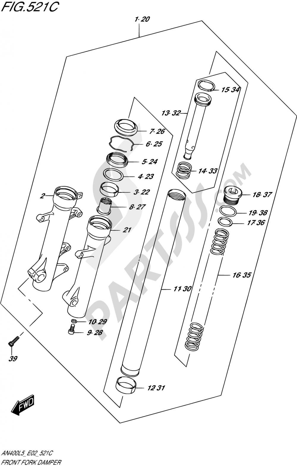 521C - FRONT FORK DAMPER (AN400AL5 E19) Suzuki BURGMAN AN400ZA 2015