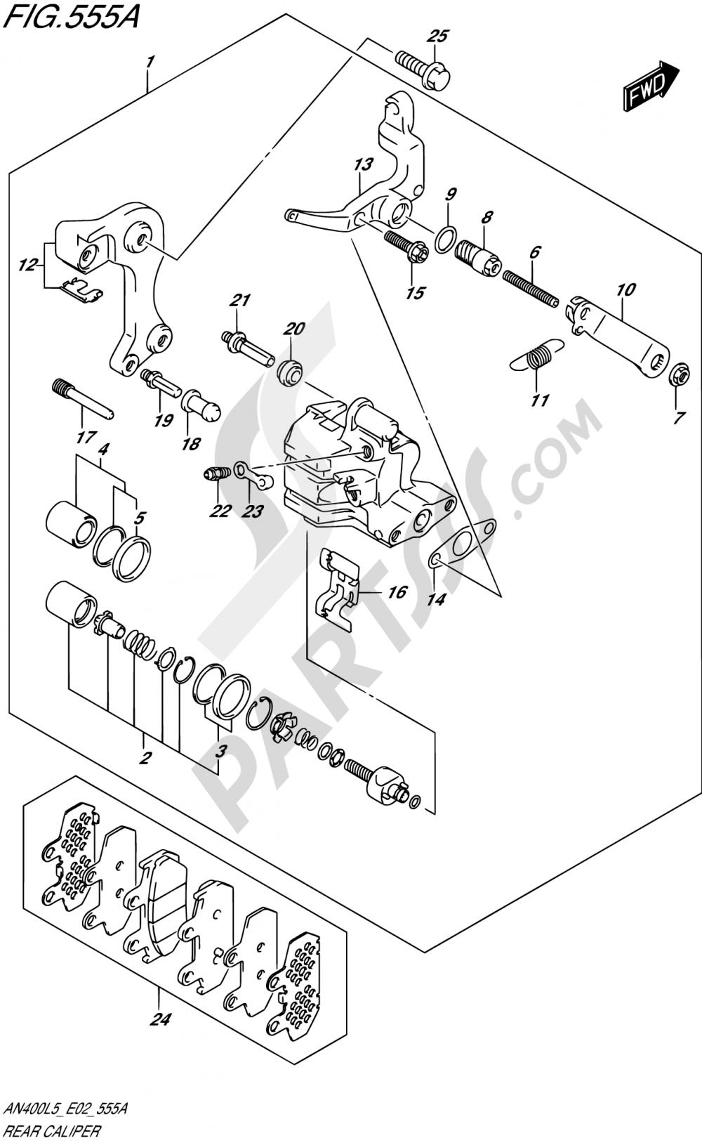 555A - REAR CALIPER (AN400L5 E19) Suzuki BURGMAN AN400ZA 2015