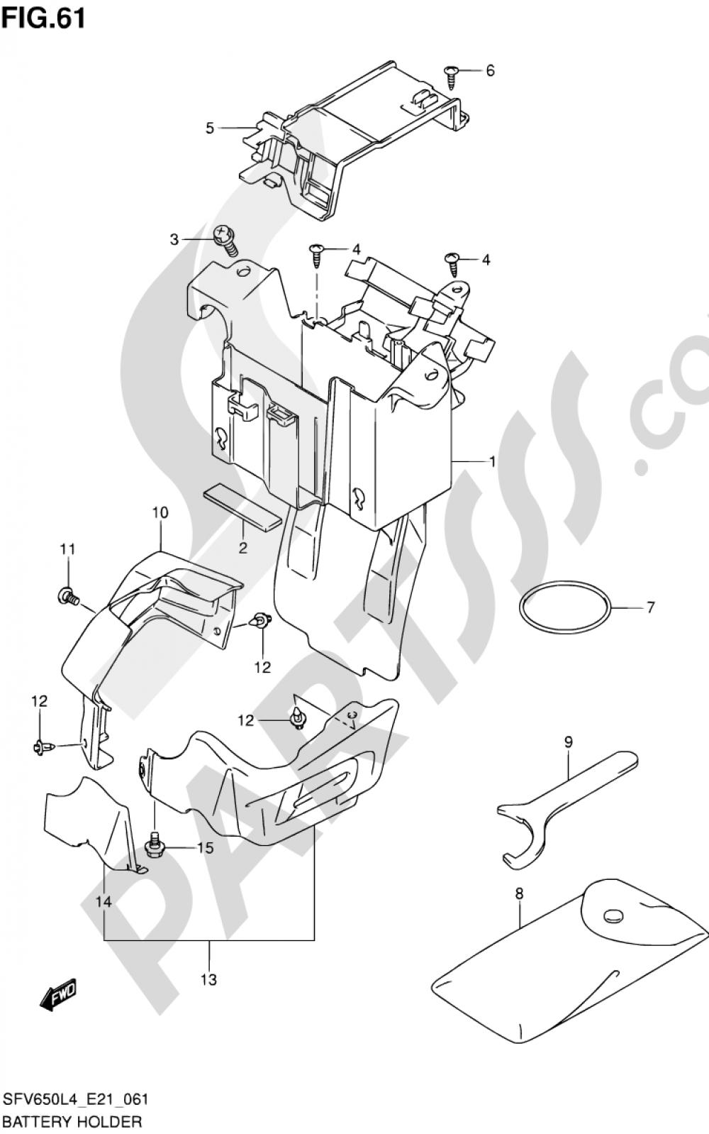 61 - BATTERY HOLDER (SFV650AL4 E21) Suzuki GLADIUS SFV650A 2014