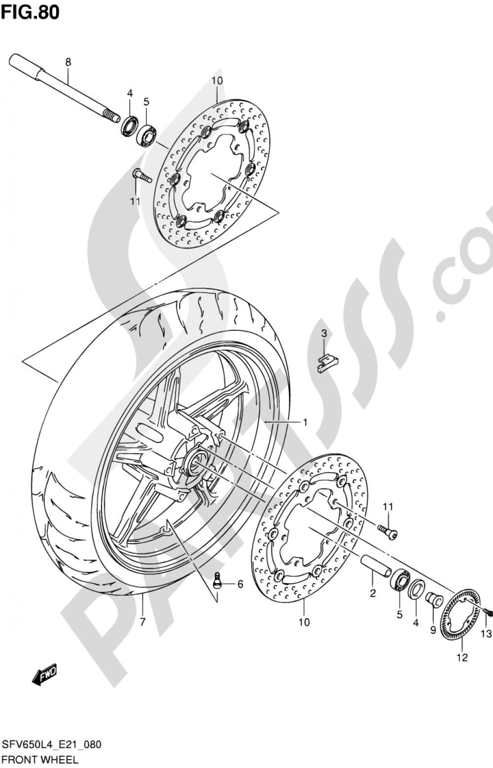 80 - FRONT WHEEL (SFV650AL4 E21) Suzuki GLADIUS SFV650A 2014