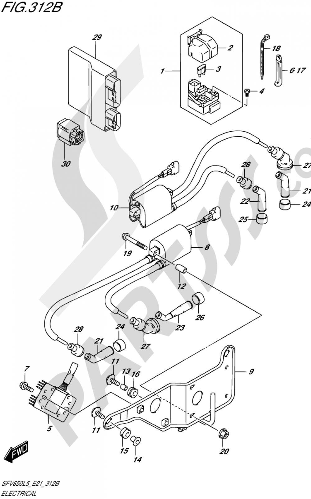 312B - ELECTRICAL (SFV650AL5 E21) Suzuki GLADIUS SFV650A 2015