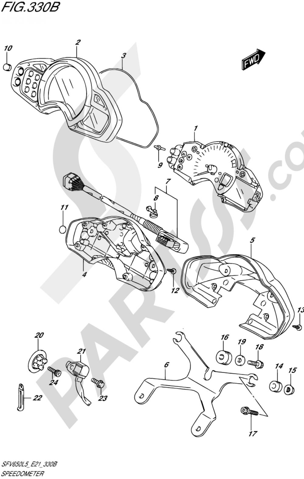330B - SPEEDOMETER (SFV650AL5 E21) Suzuki GLADIUS SFV650A 2015