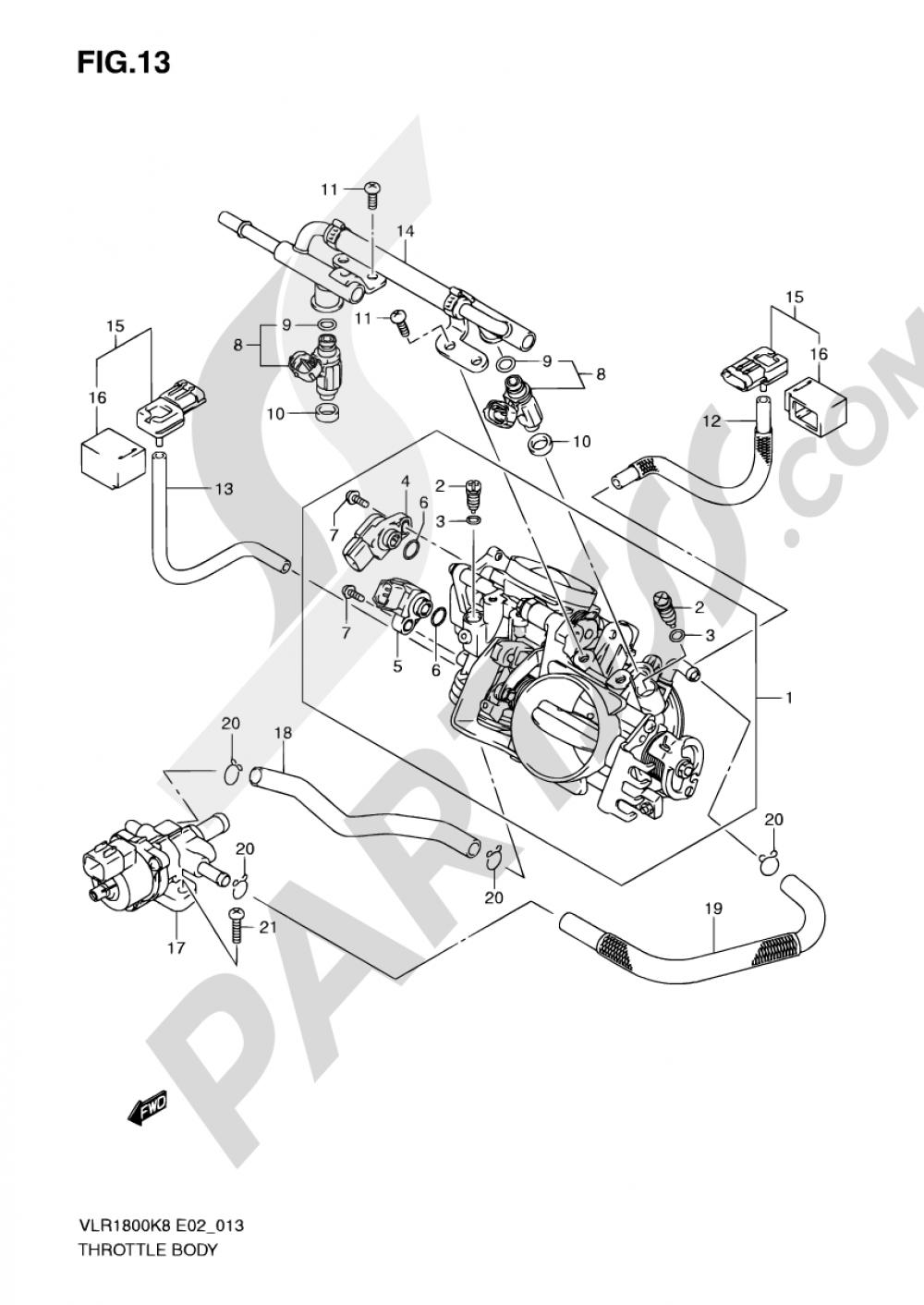 13 - THROTTLE BODY Suzuki INTRUDER VLR1800 2008