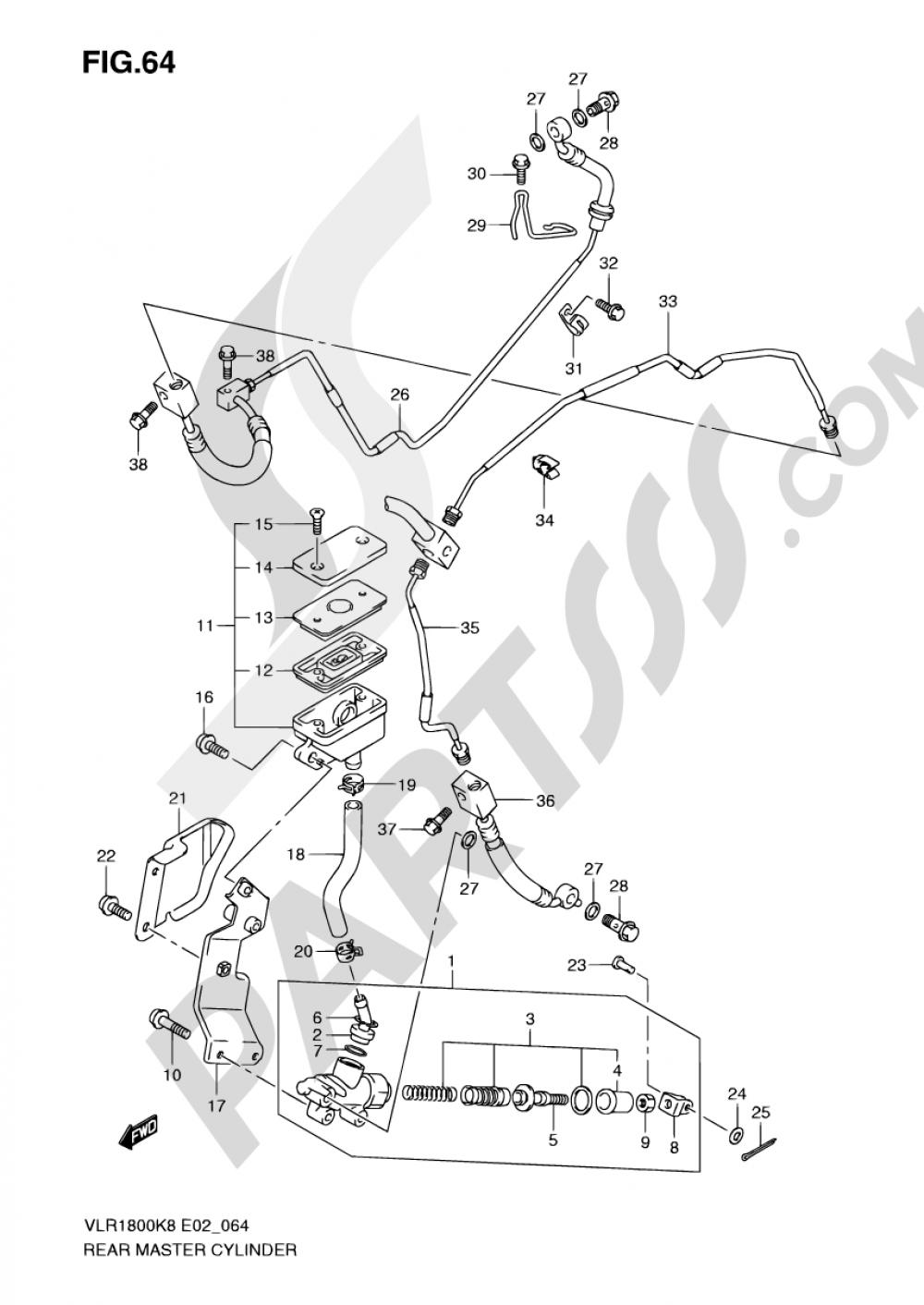 64 - REAR MASTER CYLINDER Suzuki INTRUDER VLR1800 2008