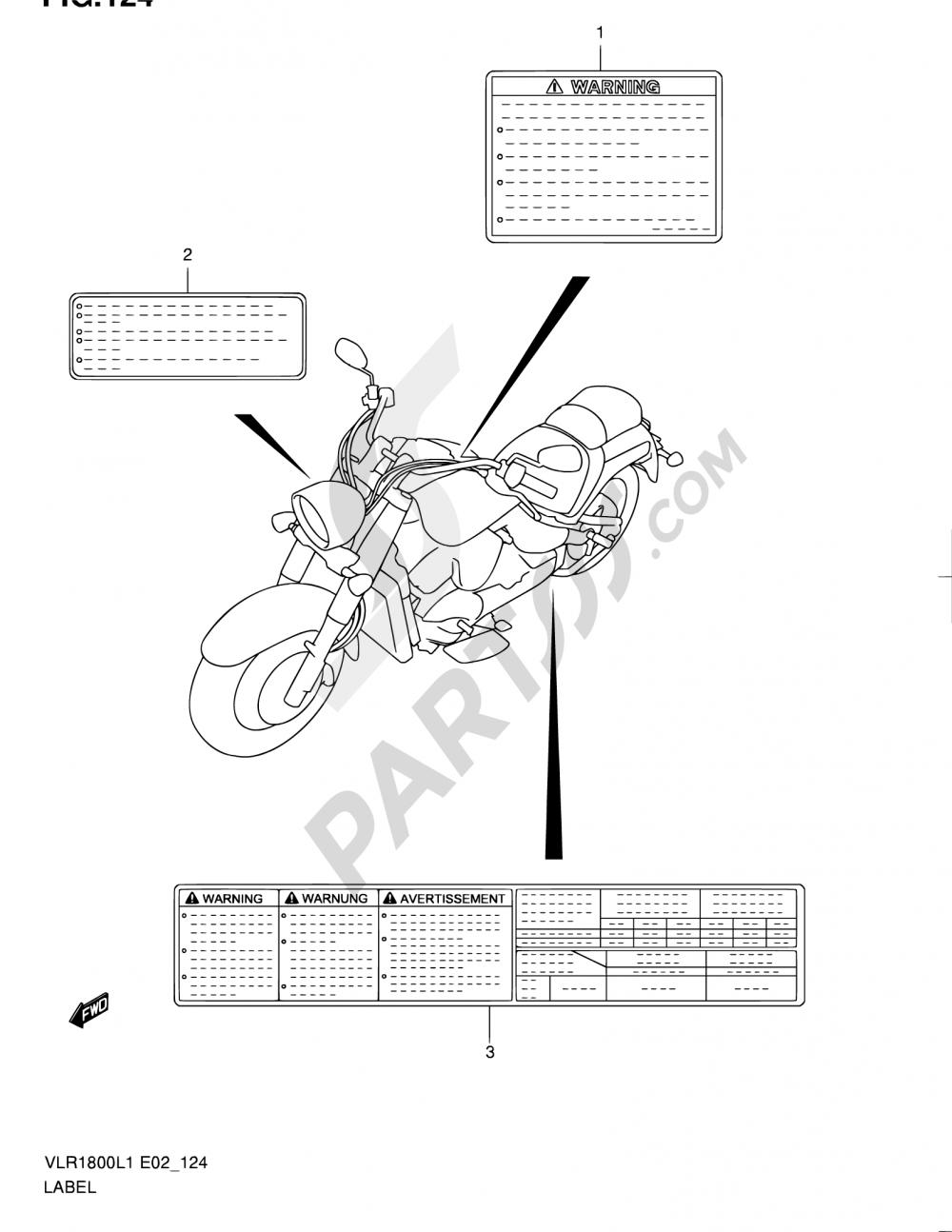 124 - LABEL (VLR1800UFL1 E19) Suzuki INTRUDER VLR1800T 2011