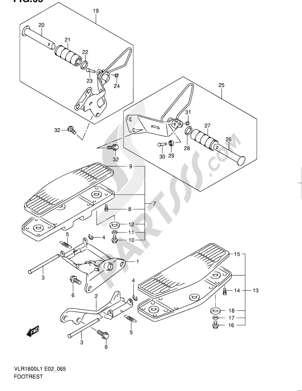 65 - FOOTREST (VLR1800L1 E02) Suzuki INTRUDER VLR1800T 2011