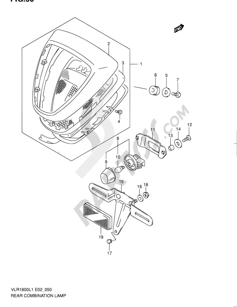 50 - REAR COMBINATION LAMP (VLR1800TL1 E19) Suzuki INTRUDER VLR1800T 2011