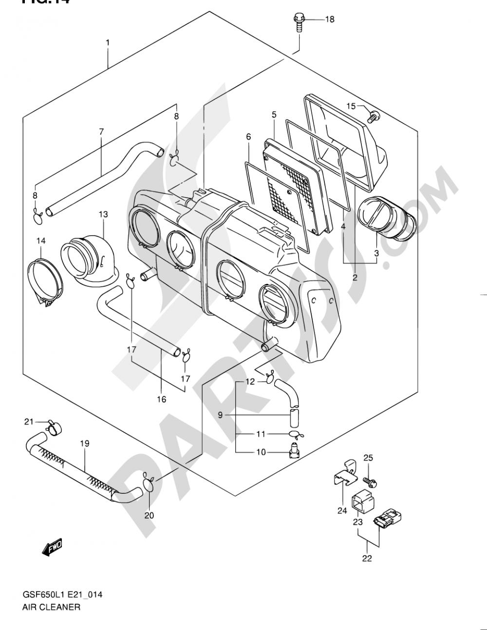 14 - AIR CLEANER Suzuki BANDIT GSF650SA 2011