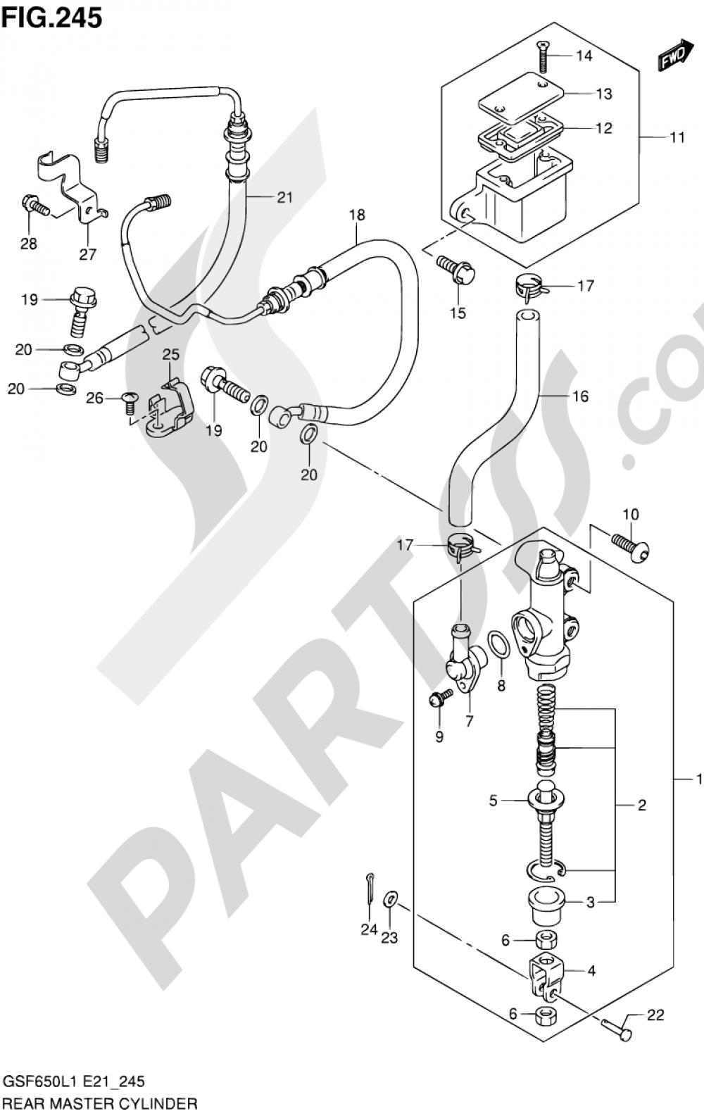 245 - REAR MASTER CYLINDER (GSF650SAL1 E21) Suzuki BANDIT GSF650SA 2011