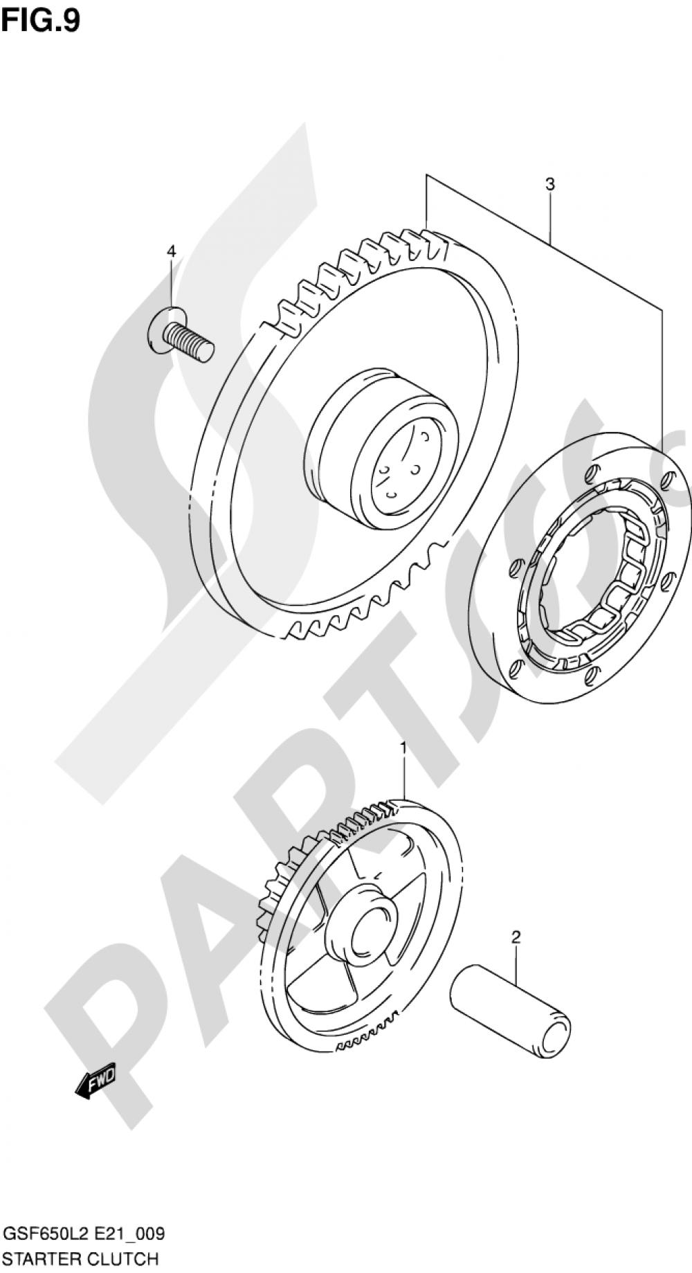 9 - STARTER CLUTCH Suzuki BANDIT GSF650SA 2012