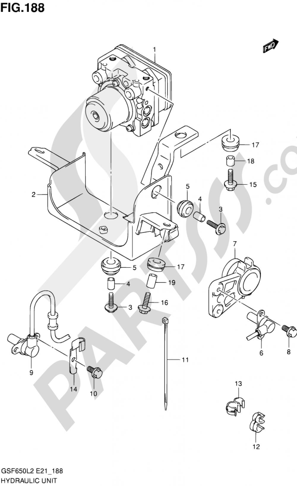 188 - HYDRAULIC UNIT (GSF650SUAL2 E21) Suzuki BANDIT GSF650SA 2012