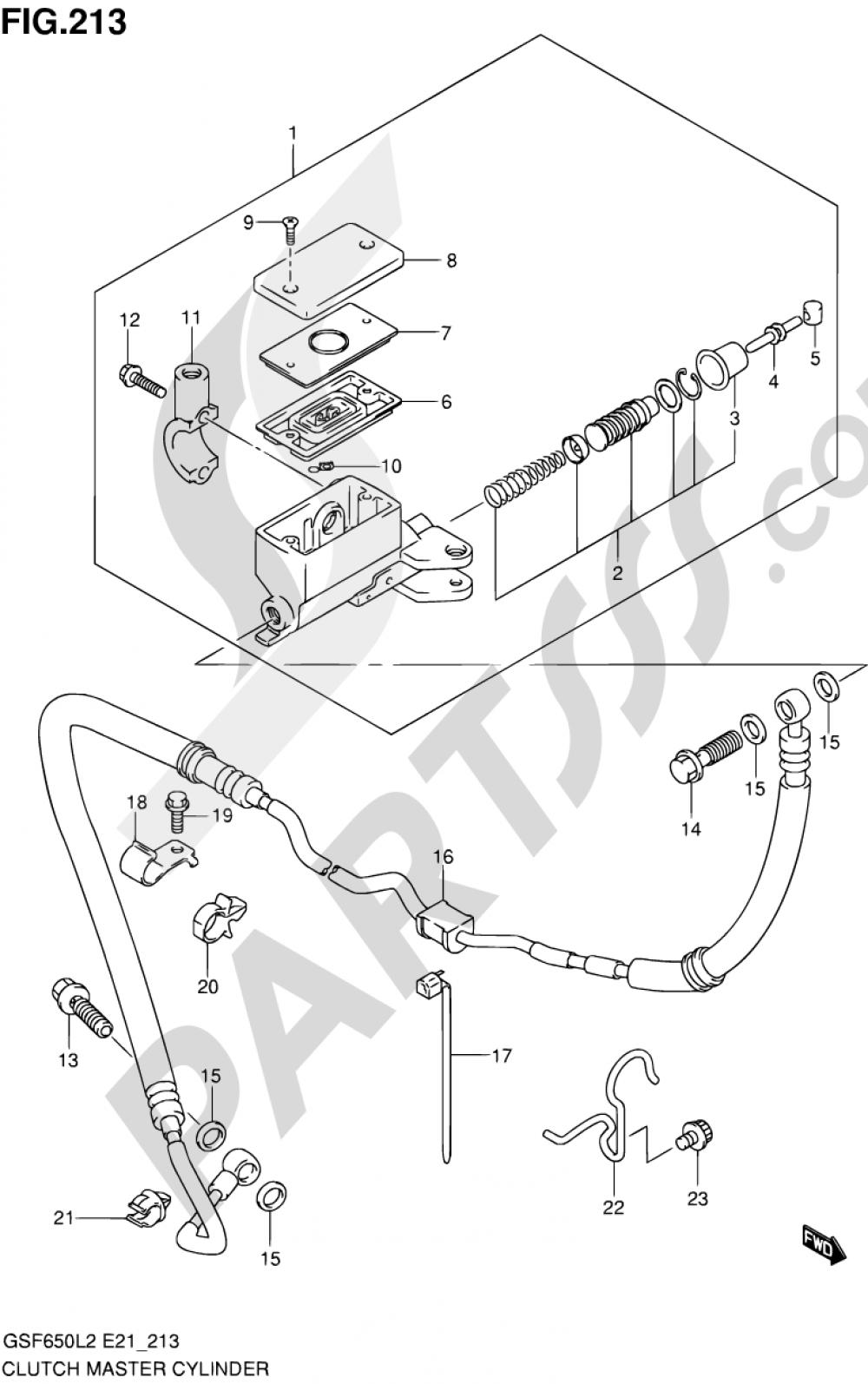 213 - CLUTCH MASTER CYLINDER (GSF650L2 E21) Suzuki BANDIT GSF650SA 2012