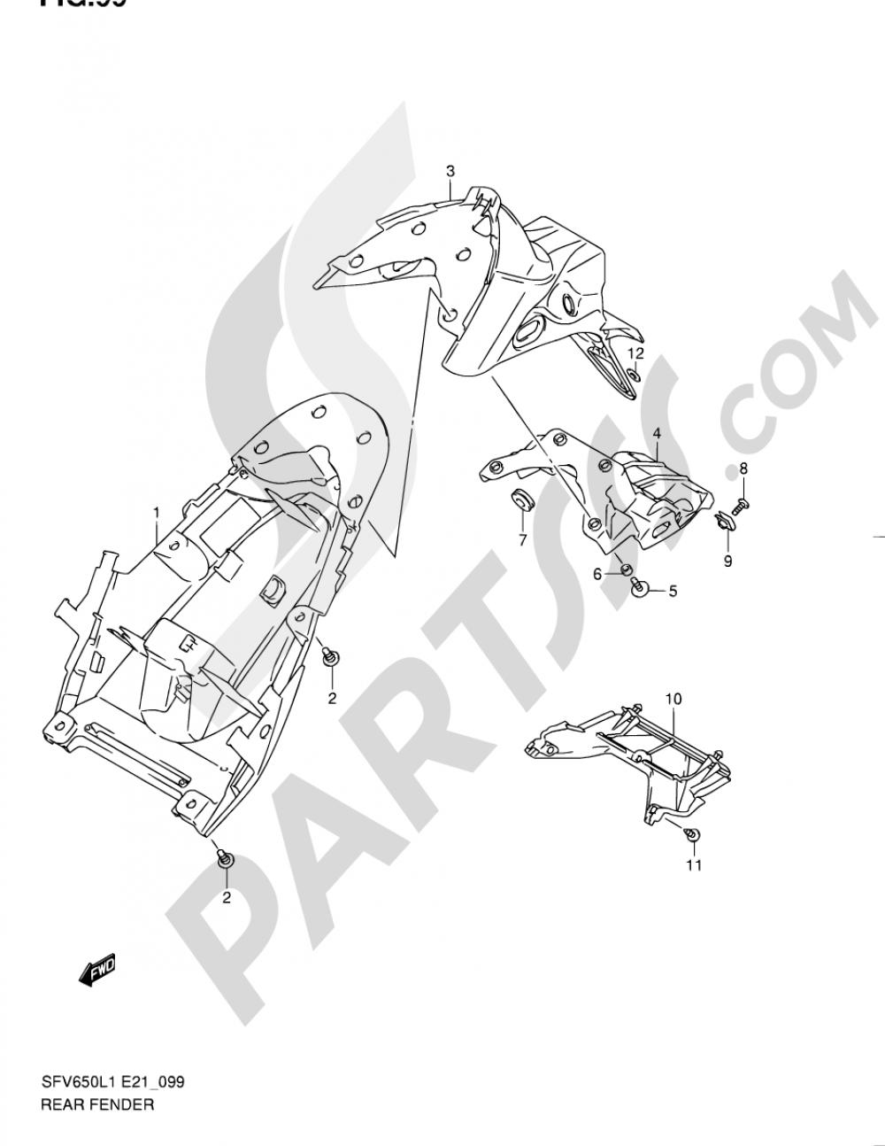 99 - REAR FENDER (SFV650UL1 E21) Suzuki GLADIUS SFV650A 2011