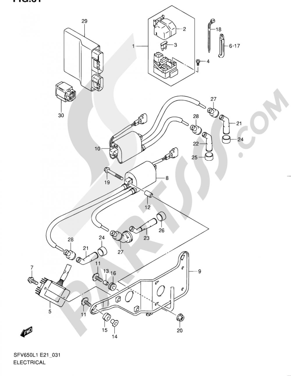 31 - ELECTRICAL (SFV650L1 E21) Suzuki GLADIUS SFV650A 2011