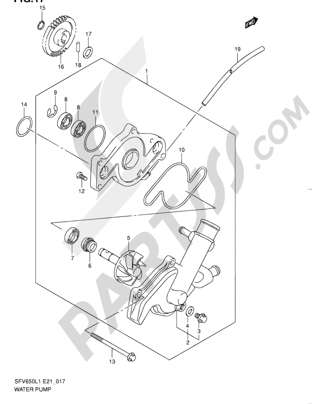 17 - WATER PUMP Suzuki GLADIUS SFV650A 2011