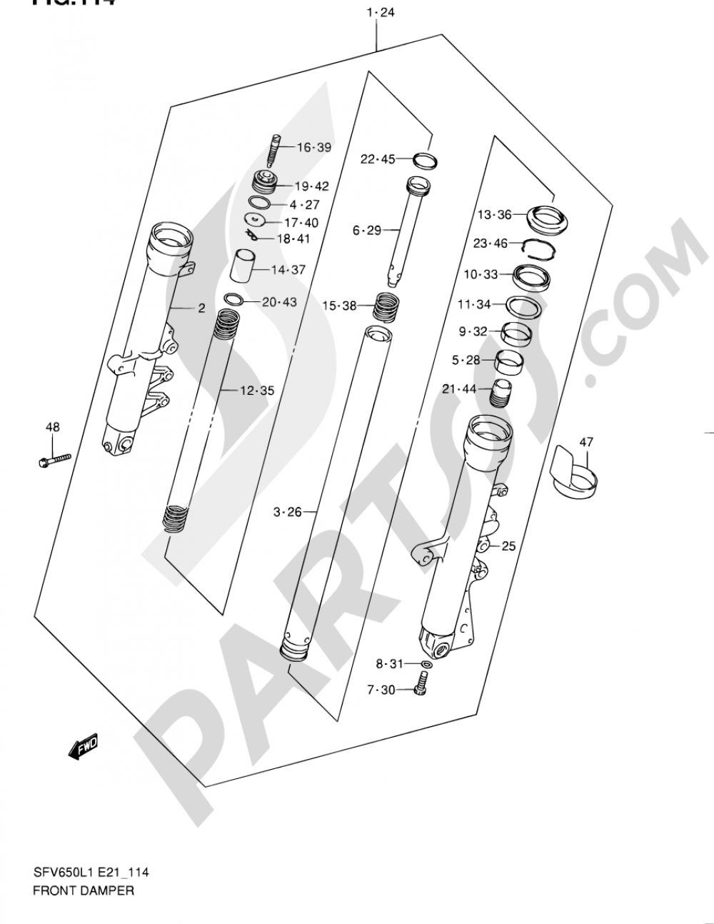 114 - FRONT DAMPER (SFV650UAL1 E21) Suzuki GLADIUS SFV650A 2011