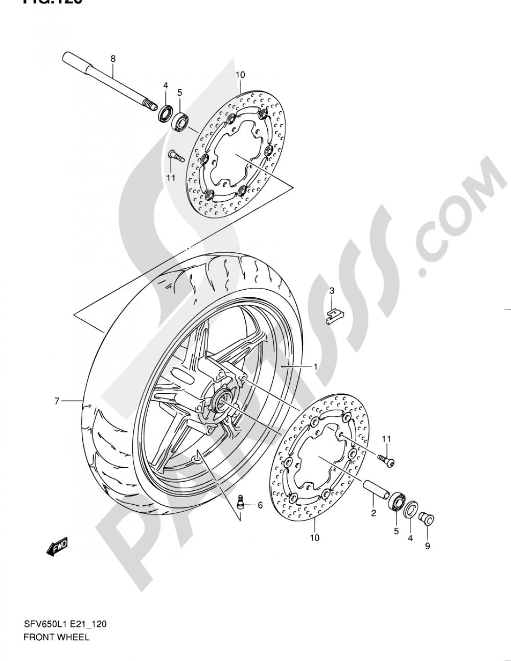 120 - FRONT WHEEL (SFV650UL1 E24) Suzuki GLADIUS SFV650A 2011