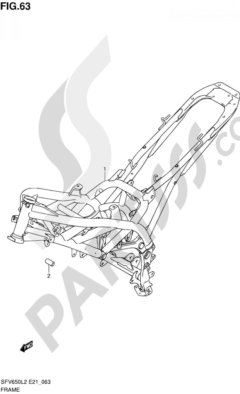 63 - FRAME (SFV650L2 E21) Suzuki GLADIUS SFV650A 2012