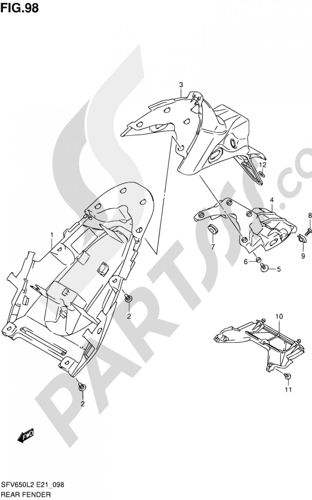 98 - REAR FENDER (SFV650UL2 E21) Suzuki GLADIUS SFV650A 2012