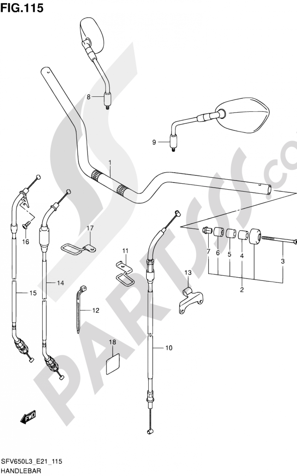 115 - HANDLEBAR (SFV650L3 E24) Suzuki GLADIUS SFV650A 2013