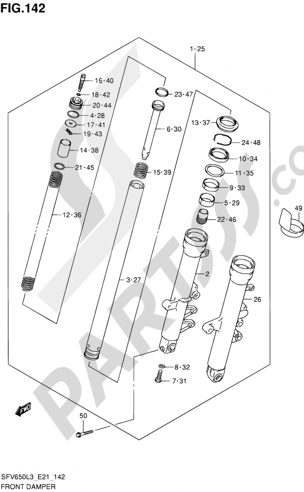 142 Front Damper Sfv650ul3 E24 Suzuki Gladius Sfv650a 2013 Wiring Diagrams