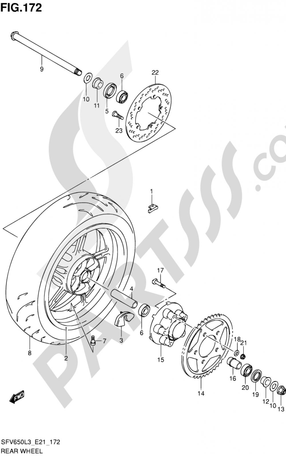 172 - REAR WHEEL (SFV650UL3 E24) Suzuki GLADIUS SFV650A 2013