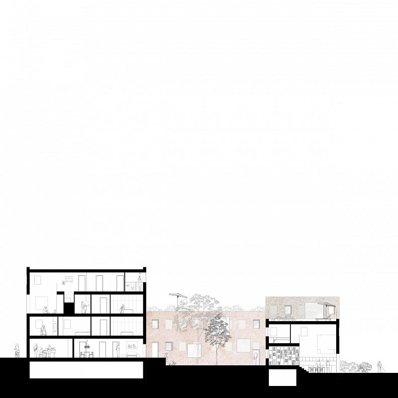 Section through one block